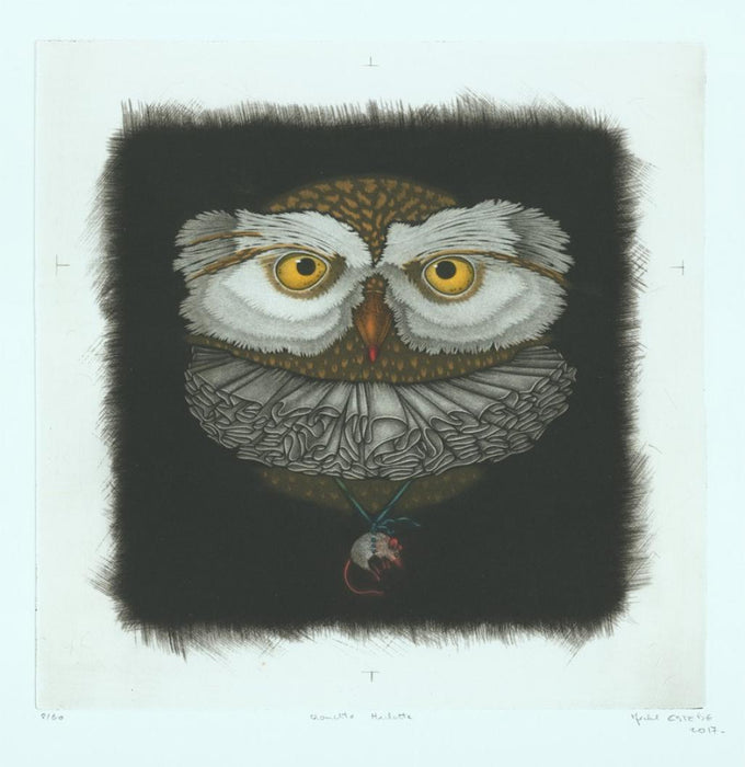 Color mezzotint - by Estebe, Michel - titled: Tawny Owl