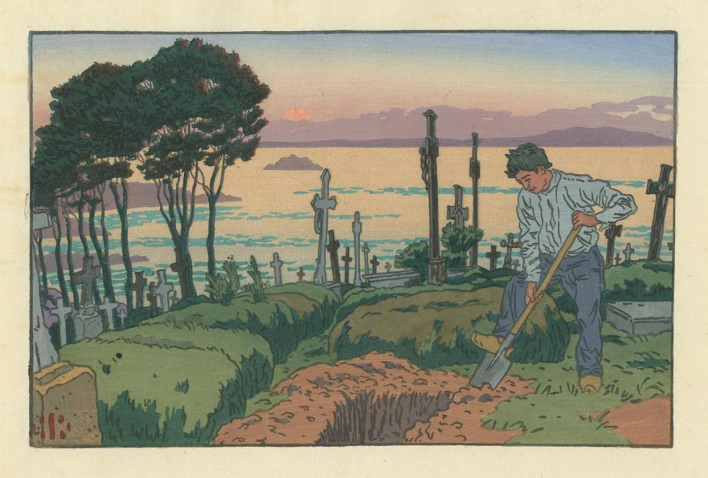 Color woodcut - by RIVIERE, Henri - titled: The Gravedigger at Tréboul