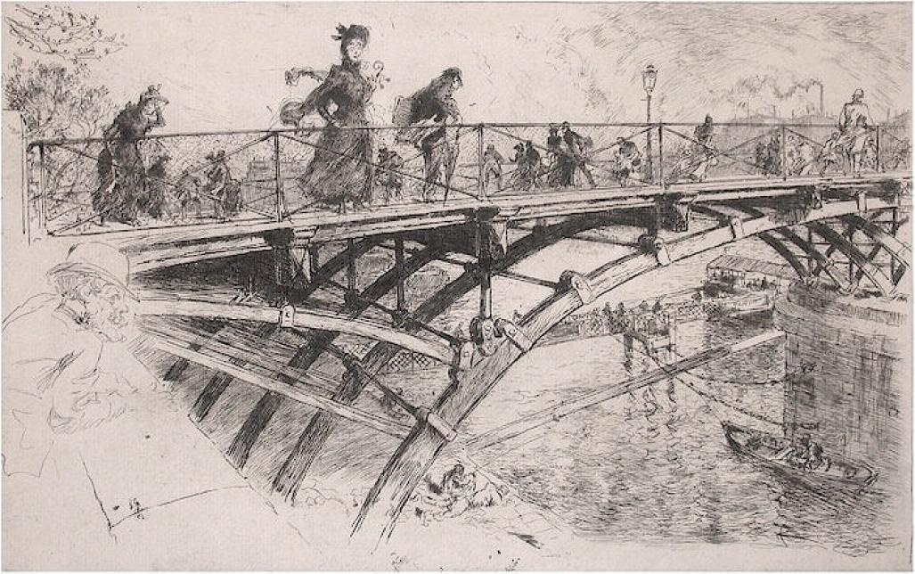 Etching - by LEPERE, Auguste - titled: Le Pont des Arts