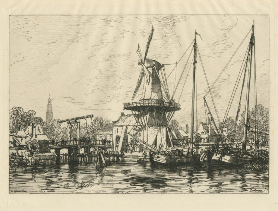 Etching - by LALANNE, Maxime - titled: A Haarlem (Hollande)