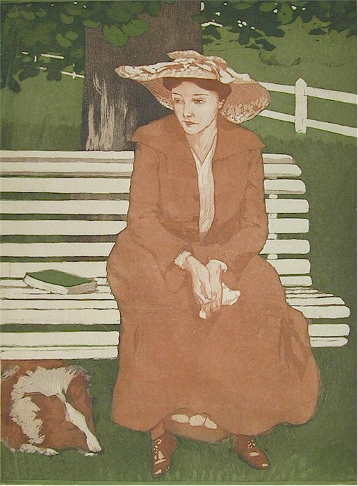 Color aquatint and etching - by DU GARDIER, Raoul - titled: [Femme assise sur un banc]