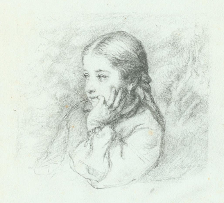 Pencil drawing - by DESBOUTIN, Marcellin - titled: Bust of Marie Desboutin, Daughter of the Artist, Seated Outside