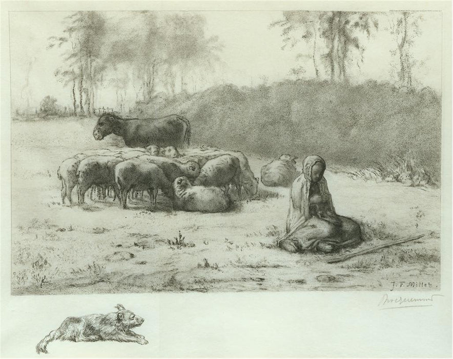 Etching - by BRACQUEMOND, Felix - titled: Young Shepherdess
