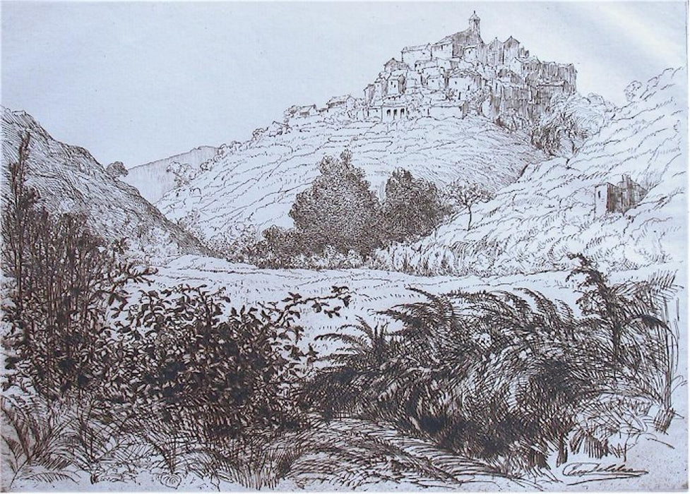 Etching and drypoint - by DELATRE, Eugene - titled: Village dans la Montagne