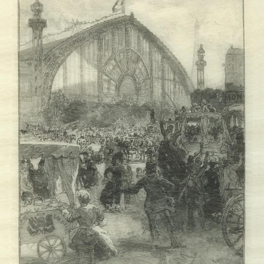 wood engraving by Auguste Lepere - universal exposition - detail