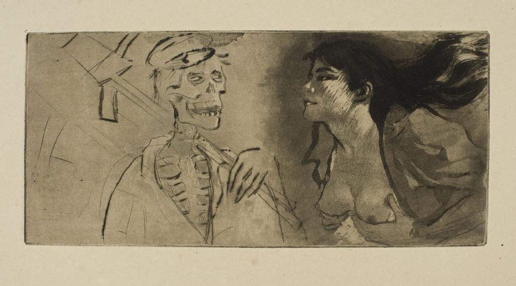 Etching, aquatint and drypoint - by LEGRAND, Louis - titled: La Mort n'a pas Faim