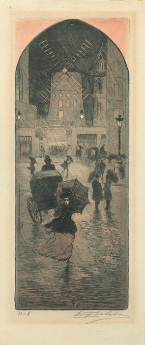 Color etching and aquatint - by DELATRE, Eugene - titled: Le Moulin Rouge
