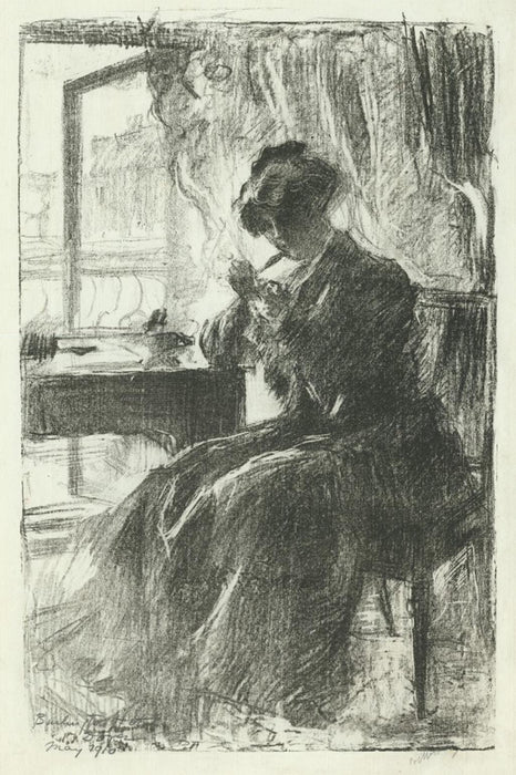 Lithograph - by BELLEROCHE, Albert - titled: Julie de Belleroche at the Burlington Hotel, Dover