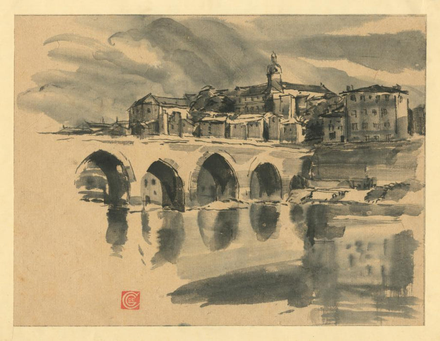 Ink wash - by COSTER, Germaine De - titled: Le Pont de Pierre