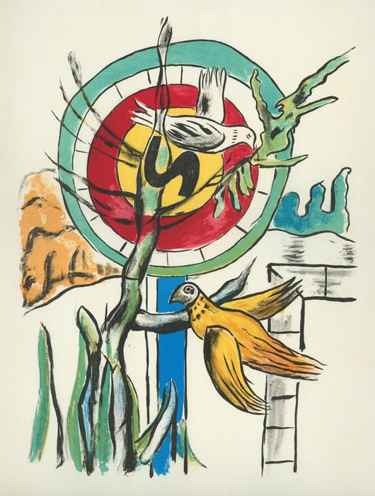 Color lithograph - by LEGER, Fernand - titled: The Two Birds