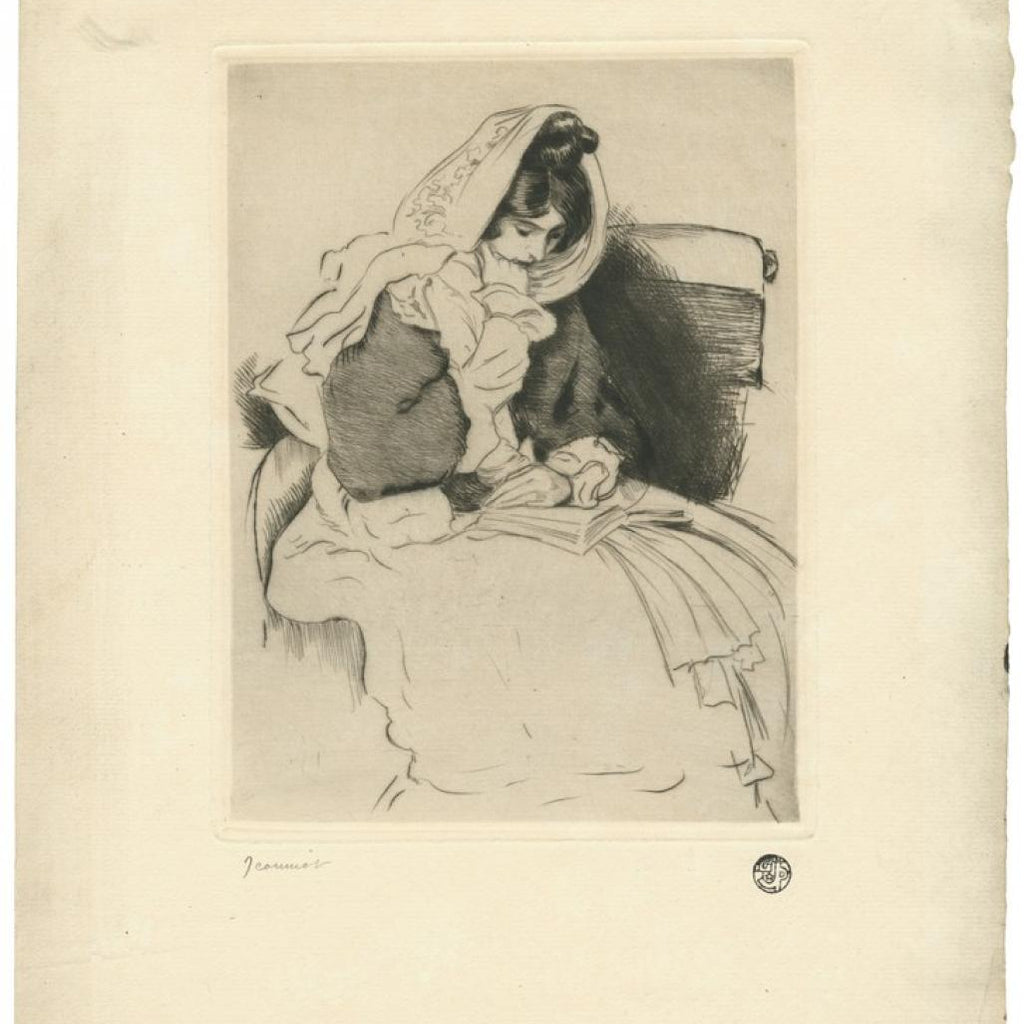Pierre-Georges Jeanniot - etching woman reading - foulard voile mantille scarf