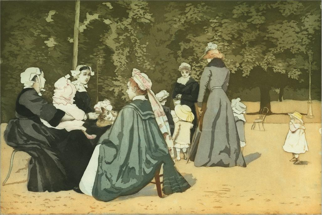Color aquatint and etching - by MAURIN, Charles - titled: Enfants et Nounous au Parc
