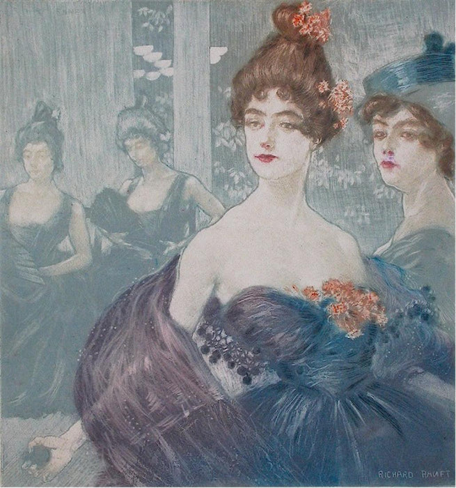 Color etching and aquatint - by RANFT, Richard - titled: Au Bal