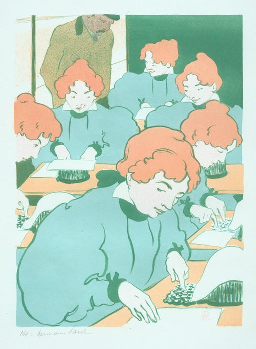 Color lithograph - by HERMANN-PAUL, Rene G. - titled: The Little Typewriters