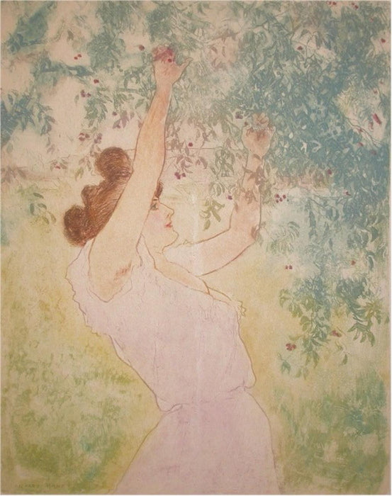 Color etching and aquatint - by RANFT, Richard - titled: Jeune Femme Cueillant des Cerises