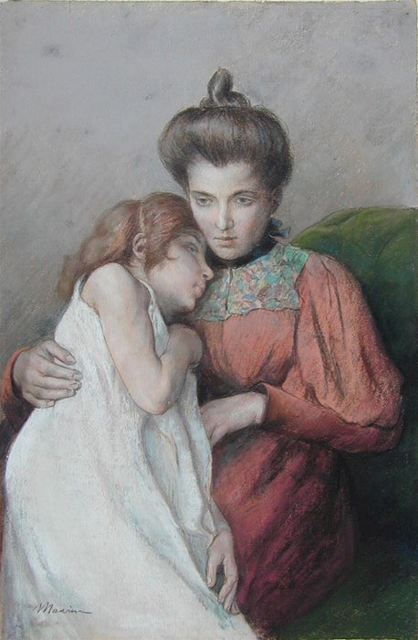 Pastel, pencil and watercolor - by MAURIN, Charles - titled: Mere et Enfant
