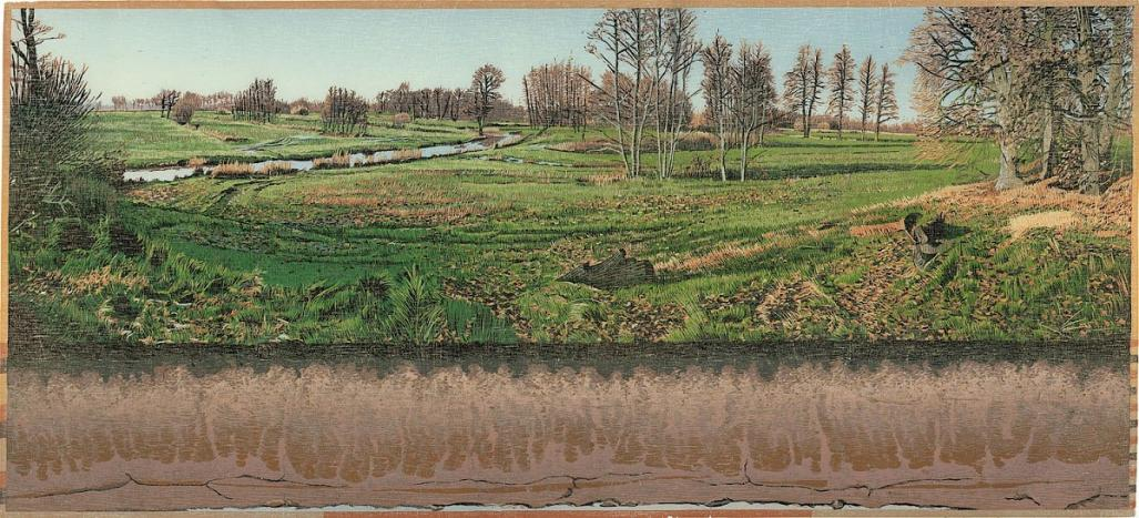 Color woodcut reduction - by DIJKSTRA, Siemen - titled: Looner Brook