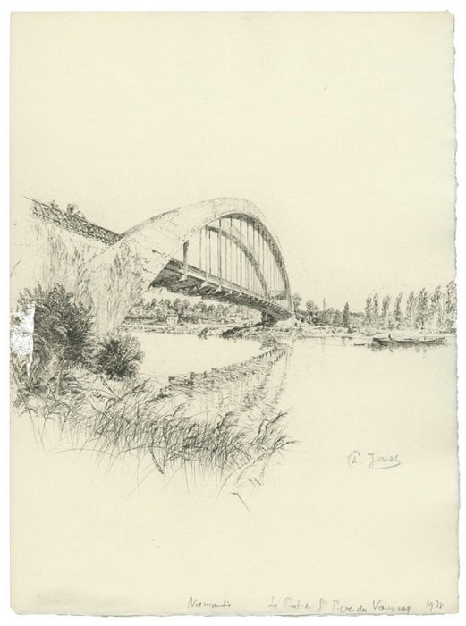 Etching - by JOUAS, Charles - titled: Normandy - The Bridge of St-Peter of Vauvray