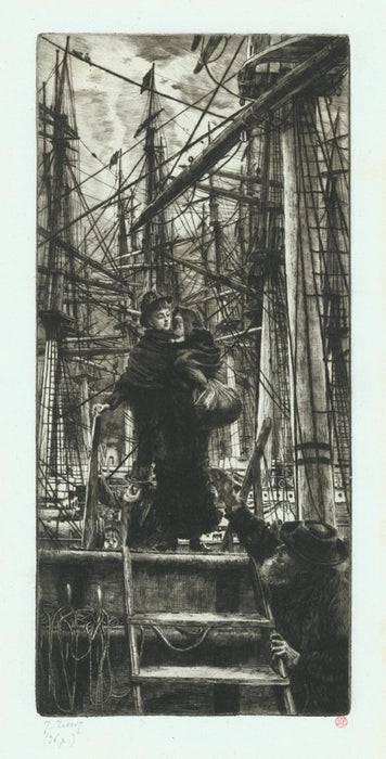 James Tissot - Emigrants - etching and drypoint - Woman and child debarking boat