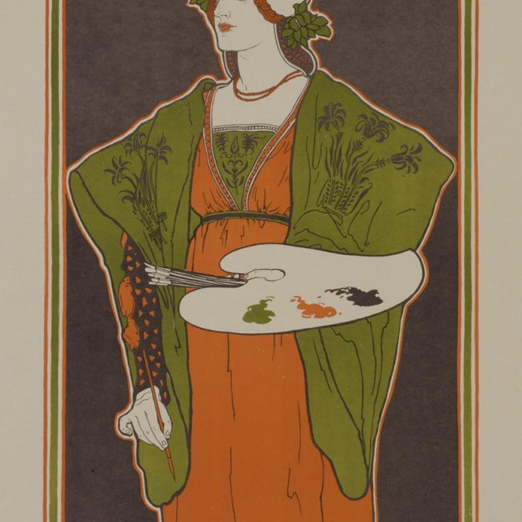 Louis Rhead - Salon des Cents - Women painter with palette - deluxe edition with signature