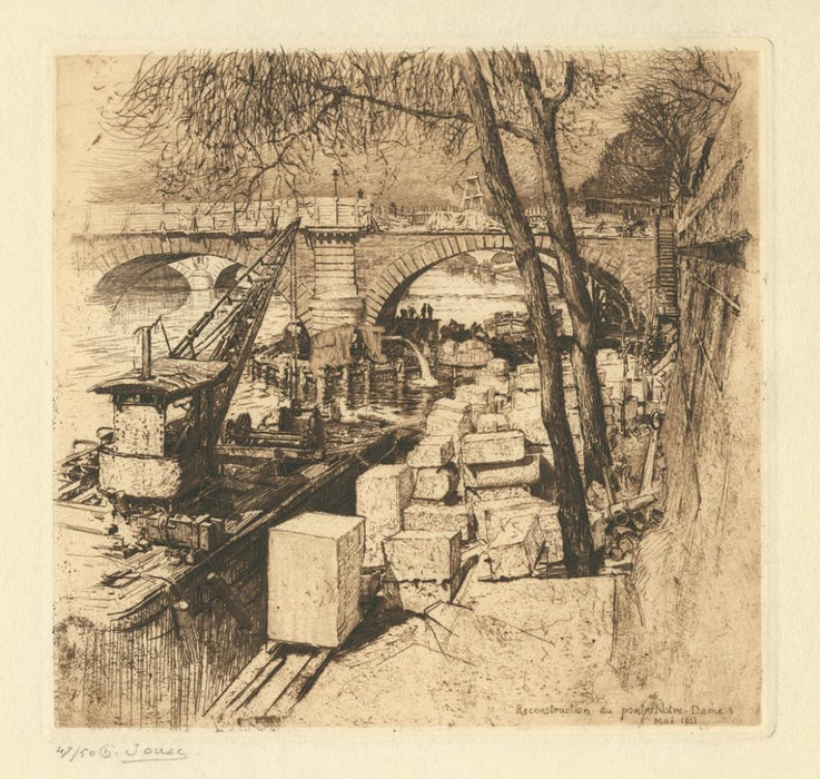 Etching - by JOUAS, Charles - titled: Reconstruction of the Notre-Dame Bridge, May 1911