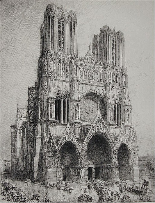 Etching - by LEPERE, Auguste - titled: Cathedrale de Reims
