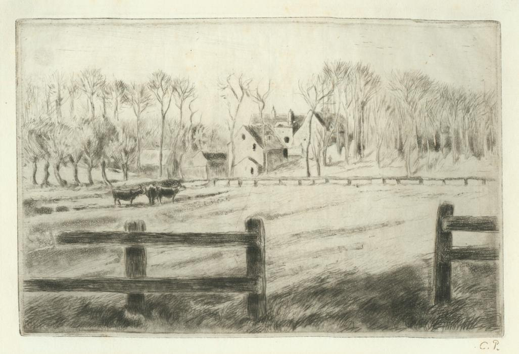 Etching - by PISSARRO, Camille - titled: Prairie and Mill in Osny