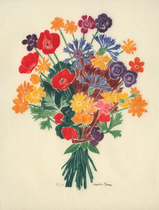 Color woodcut - by MORIN-JEAN, Born Jean Alexis MORIN - titled: Flower Bouquet