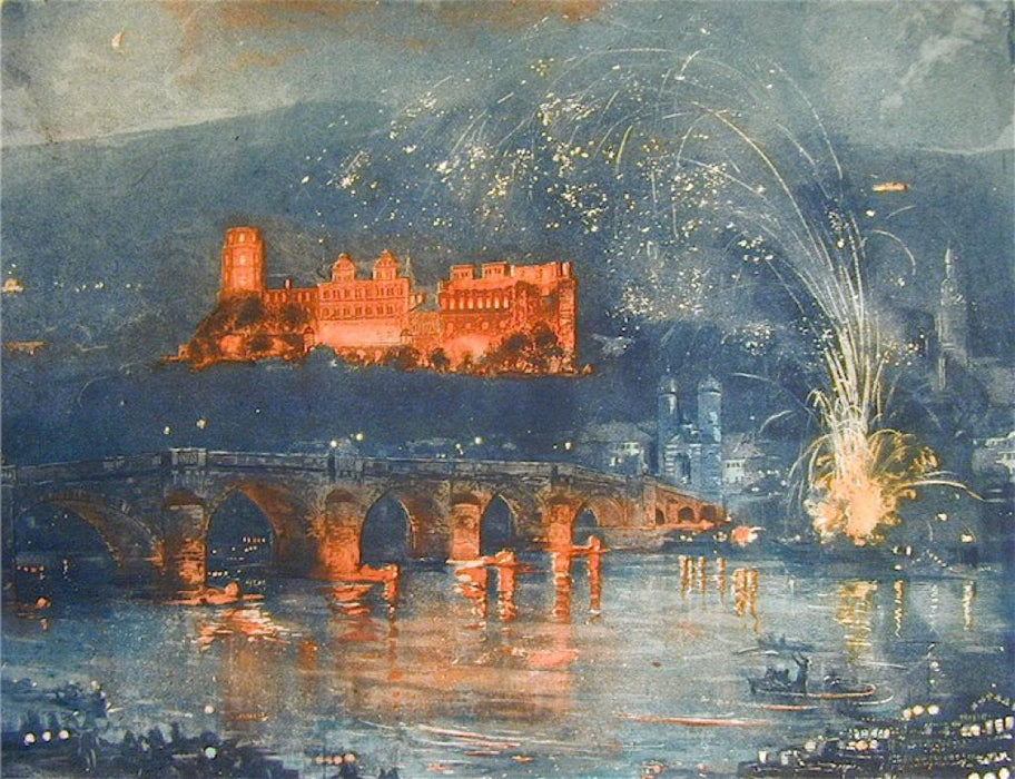 Color etching and aquatint - by RANFT, Richard - titled: [Feu d'Artifice sur Heidelberg]
