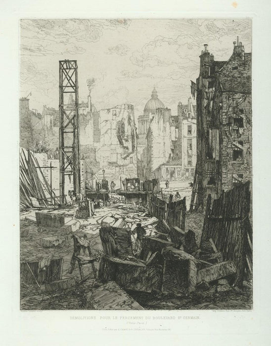 Etching - by LALANNE, Maxime - titled: Demolition pour le Percement du Boulevard Saint-Germain