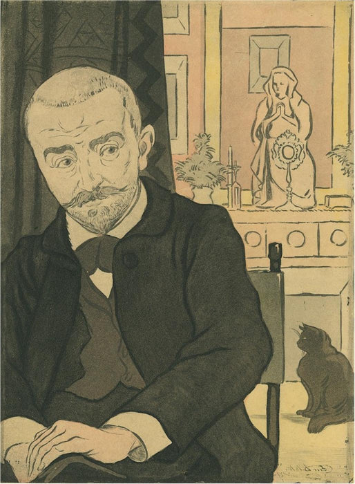 Color etching - by DELATRE, Eugene - titled: Portrait de Huysmans