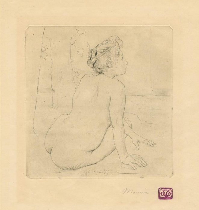 Etching - by MAURIN, Charles - titled: Seated Nude