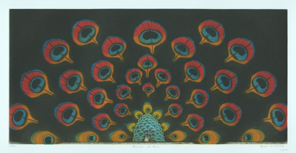 Color mezzotint - by Estebe, Michel - titled: Peacock Feathers