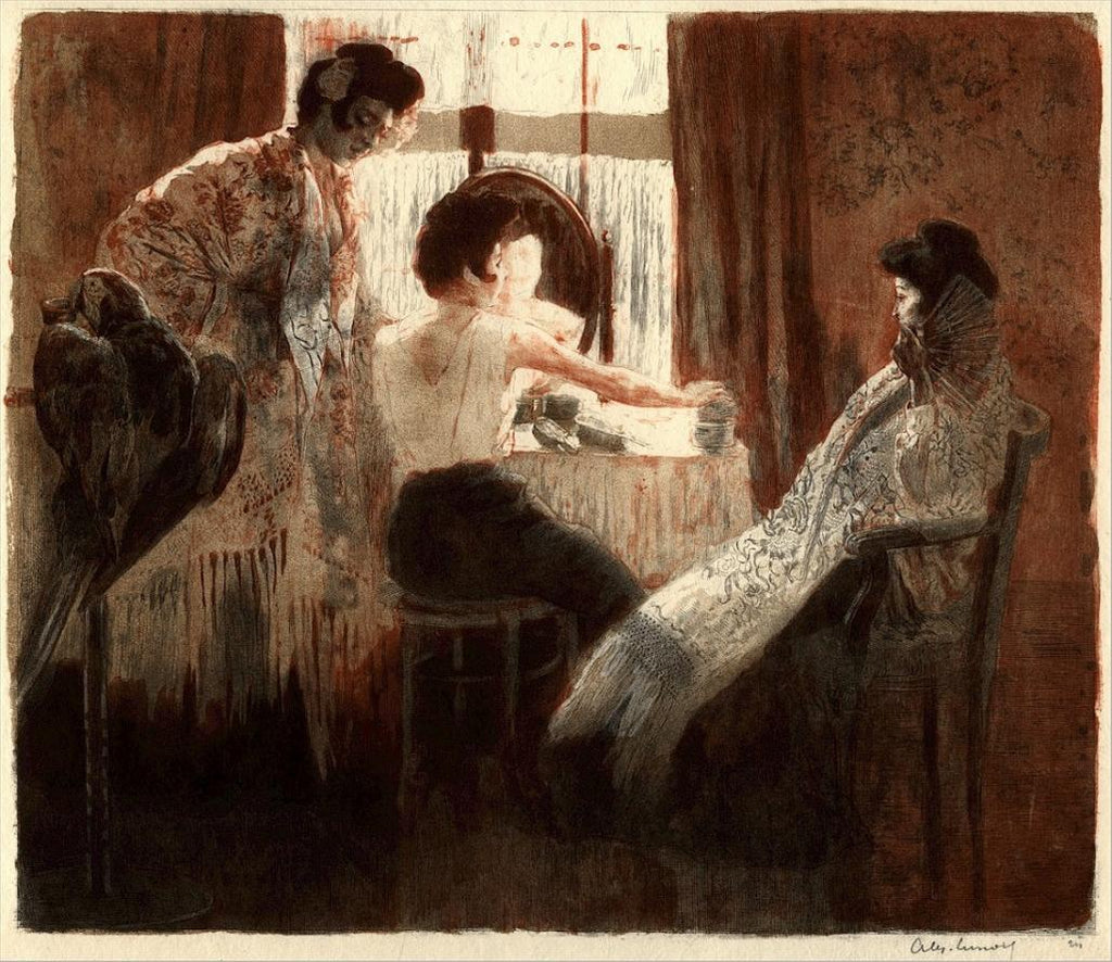 original color lithograph by Alexandre Lunois, an images of flamenco dancers getting dressed and made up