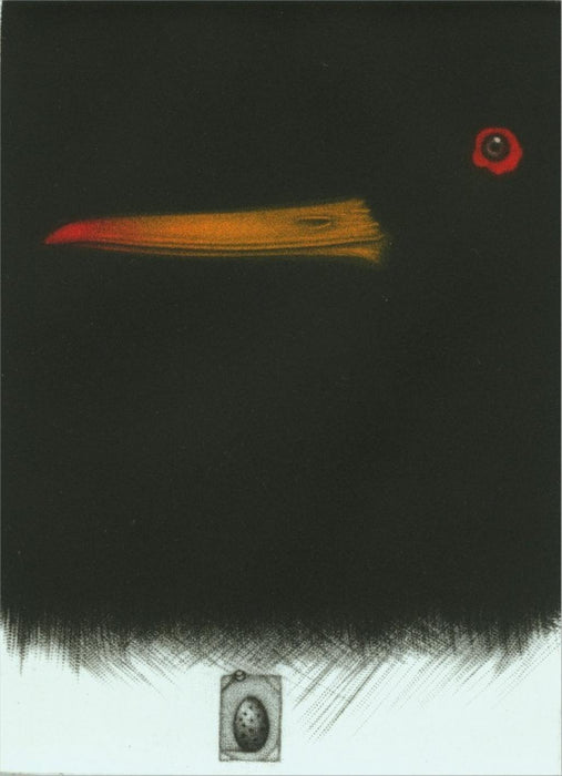 Color mezzotint - by Estebe, Michel - titled: Huîtrier