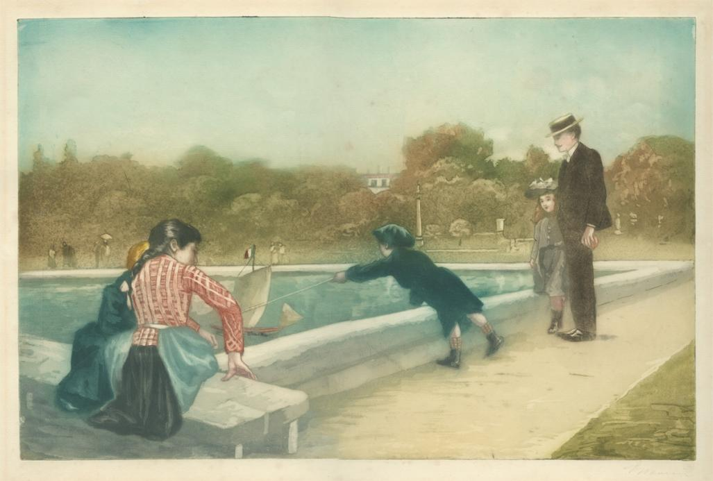Color aquatint and etching - by MAURIN, Charles - titled: Les Petits Bateaux au Luxembourg