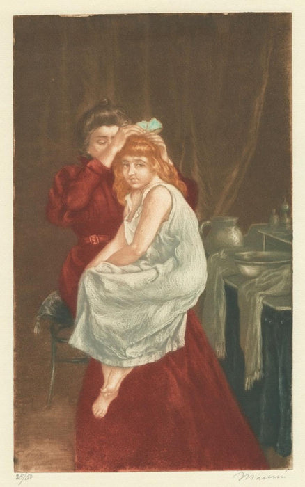 Color aquatint and etching - by MAURIN, Charles - titled: Le Ruban de Coiffure