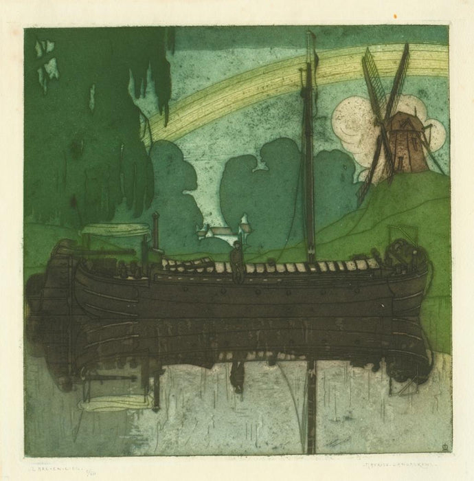 Color aquatint - by LANGASKENS, Maurice - titled: The Rainbow