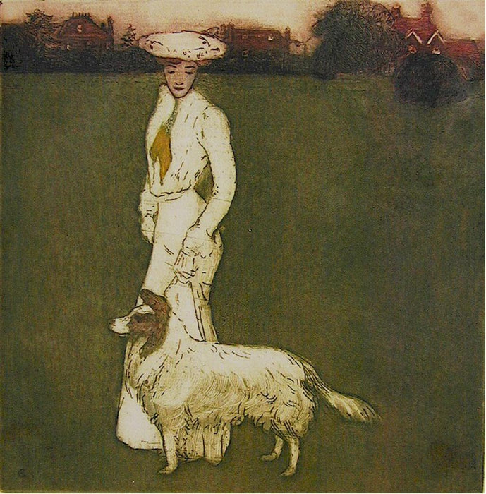 Color etching and aquatint - by DU GARDIER, Raoul - titled: Elegante et son chien