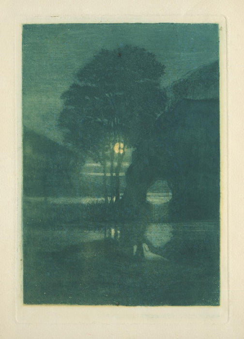 Color aquatint - by HOUDARD, Charles - titled: Clair de Lune sur la Bresle
