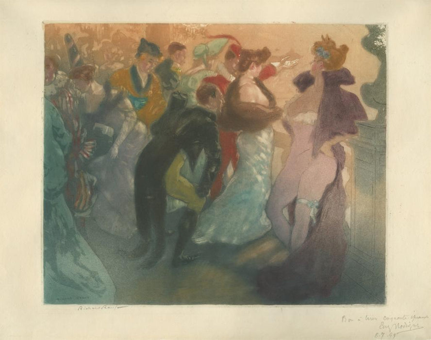 Color etching and aquatint - by RANFT, Richard - titled: Bal Costumé