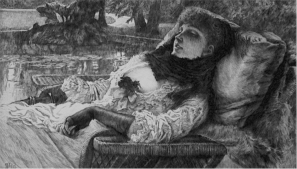James Jacque Tissot - Soirree d'Ete - elegant woman lounging - etching and drypoint