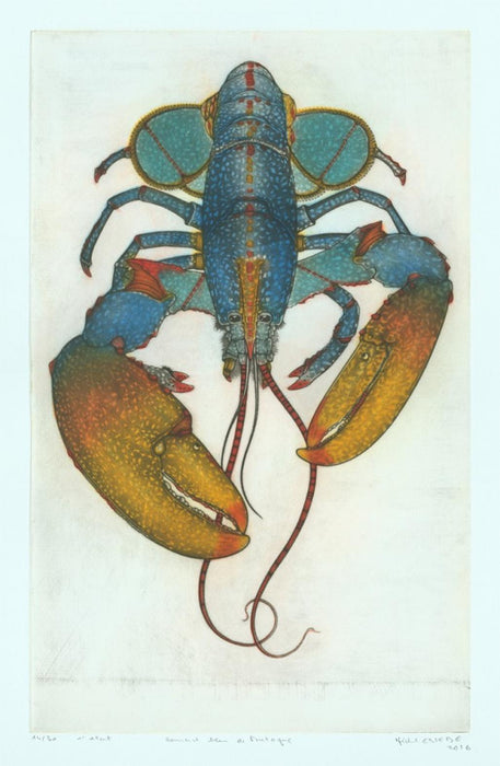 Color mezzotint - by Estebe, Michel - titled: Blue Lobster from Brittany