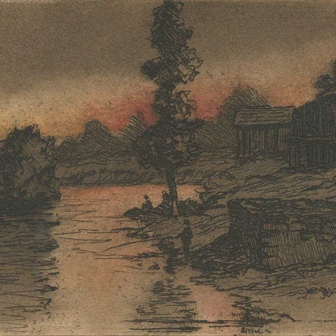 Color aquatint and etching - by JAQUES, Bertha - titled: Fishermen by a River at Dusk