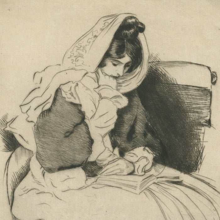 Pierre-Georges Jeanniot - etching woman reading - detail