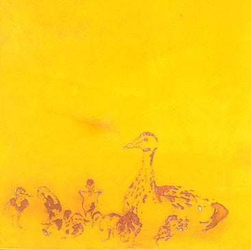 Color aquatint - by JERETIC, Anna - titled: Ducks and Plum Tree - yellow