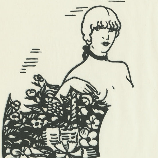 Woodcut - by LABOUREUR, Jean-Emile - titled: Fan with the Florist