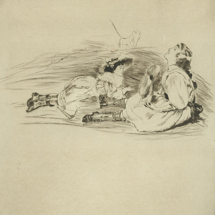 Drypoint and aquatint - by LEGRAND, Louis - titled: In the Shade