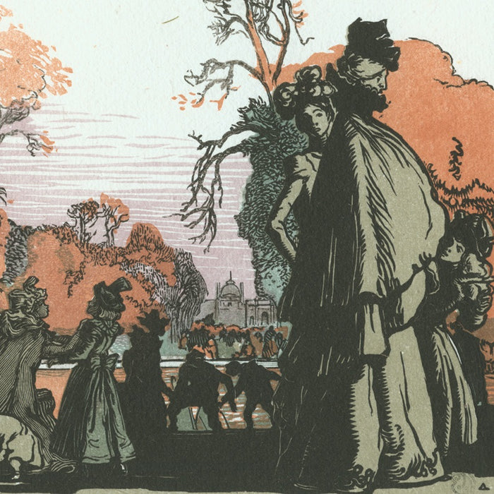 Color woodcut - by LEPERE, Auguste - titled: The Tuilleries Pond