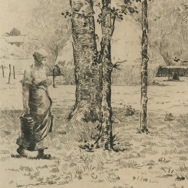 Etching - by LEROLLE, Henri - titled: Farmer Carrying Two Buckets